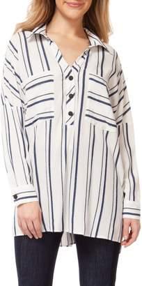 Dex Striped Long-Sleeve Blouse