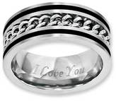 Zales Men's 10.0mm Chain Inlay Two-Tone Stainless Steel Ring (17 Characters)