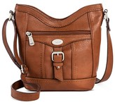 Bolo Women's Faux Leather Crossbody Handbag with Power Bank and Zipper Closure