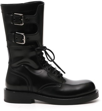 Dolce & Gabbana Buckle Detail Military Boots