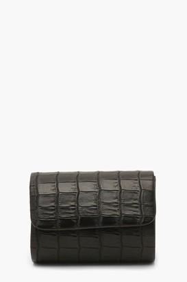 boohoo Mini Croc Structured Clutch Bag & Chain