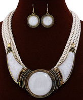Ella & Elly Women's Earrings White - Goldtone & White Statement Necklace & Drop Earrings
