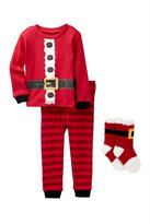 Petit Lem Santa Claus Costume PJ Set & Socks (Baby Boys)