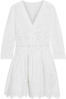 Alberta Ferretti Flared Broderie Anglaise Cotton-blend Mini Dress