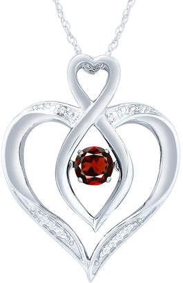Fine Jewelry Womens Diamond Accent Genuine Red Garnet Sterling Silver Round Pendant