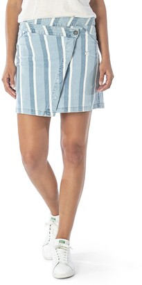 KUT from the Kloth Connie Asymmetrical Stripe Denim Miniskirt