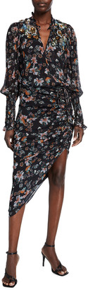 Veronica Beard Shaia Long-Sleeve Ruched Dress