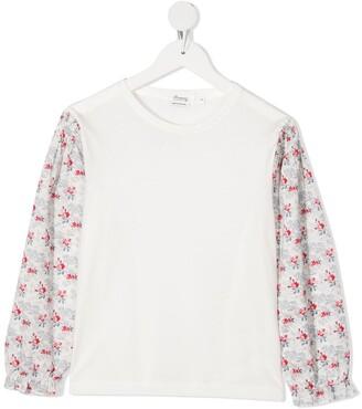 Bonpoint floral-print panelled cotton T-shirt