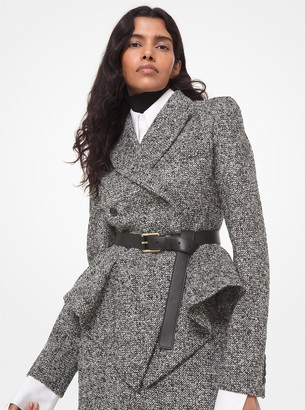 Michael Kors Collection Herringbone Tweed Peplum Jacket