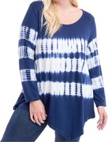 Fever Plus Size Tie-Dyed Asymmetrical Top