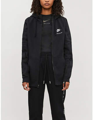 Alyx Embroidered-branding cotton-blend drawstring hoody