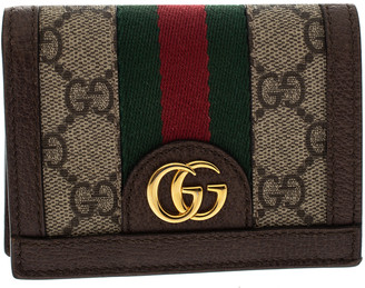 Gucci Brown GG Supreme Canvas and Leather Web Ophidia Card Case Wallet