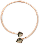 Vince Camuto Rose Gold-Tone Glass Stone Hinged Collar Necklace