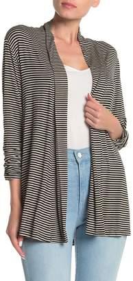 Bobeau Striped Ruched Sleeve Cardigan (Regular & Petite)