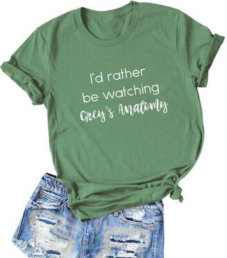 Dresswel Women Id Rather Be Watching Greys Anatomy T Shirt Crewneck Short Sleeve Tee Summer Tops Light Green