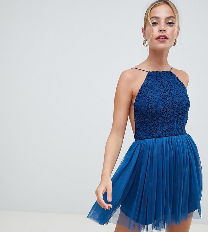 ASOS DESIGN Petite Lace Top Tulle Mini Dress