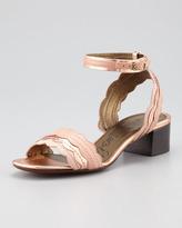 Lanvin Chunky-Heel Scalloped Leather Sandal, Light Pink