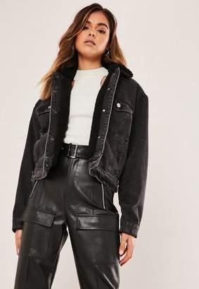 Missguided Gray Jean Grazer Borg Lined Denim Jacket