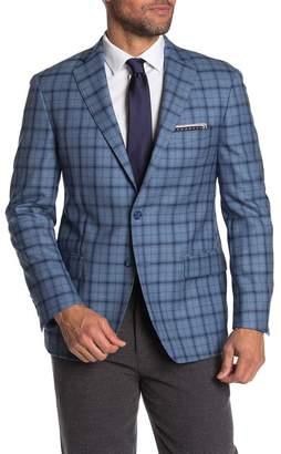 Hart Schaffner Marx Blue Windowpane Two Button Notch Lapel Wool Suit Separates Jacket