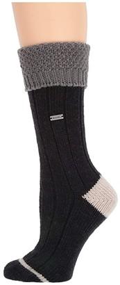 Sorel Wool Texture Turn Over Cuff Crew (Black) Women's Crew Cut Socks Shoes
