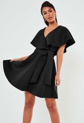 Missguided Black Wrap Front Ruffle Skater Scuba Mini Dress