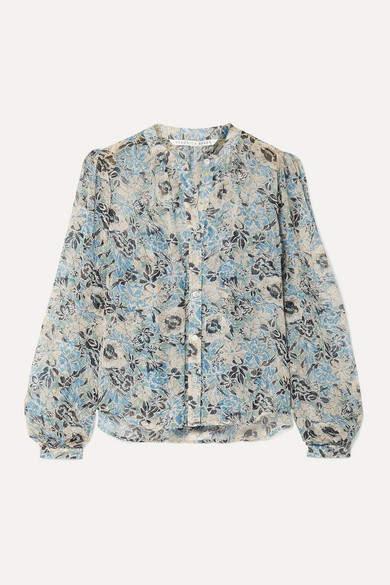Veronica Beard Ashlynn Floral-print Silk-chiffon Blouse - Blue