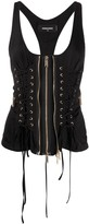 DSQUARED2 zip-through laced corset top