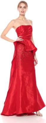 Mac Duggal Womens Asymmetrical Peplum Bustier Gown Red