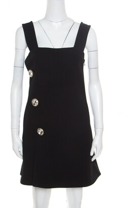 Marni Black Crepe Crystal Embellished Button Detail Pinafore Dress M