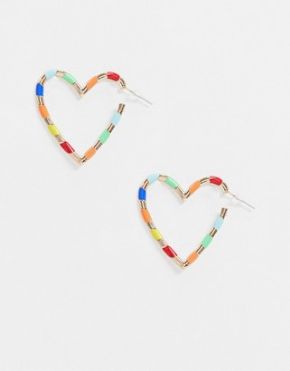 Glamorous earrings in multi colour heart hoop