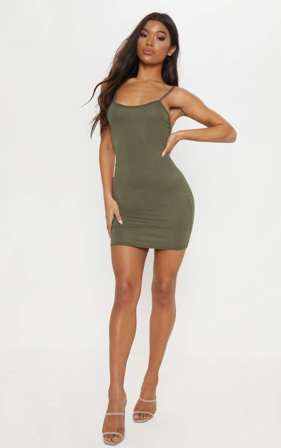 PrettyLittleThing Basic Khaki Strappy Bodycon Dress