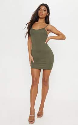 PrettyLittleThing Basic Khaki Strappy Bodycon Dress
