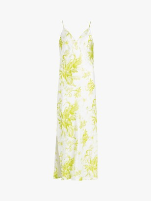 AllSaints Melody Floral Print Maxi Dress, Chartreuse Yellow