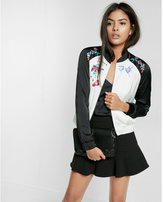 Express Embroidered Floral Bomber Jacket