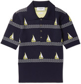 Thom Browne - Boat-patterned Knitted Wool-blend Polo Shirt