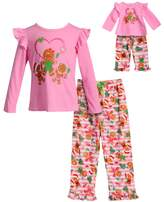 Dollie & Me Girls 4-14 Gingerbread Cookie Ruffled Top & Bottoms Pajama Set