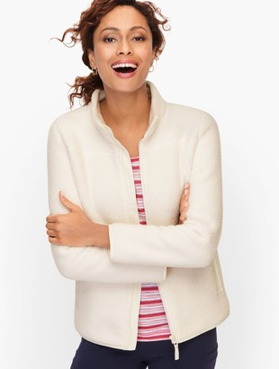 Talbots Sherpa Woven Trim Jacket - Solid