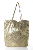Carlos Falchi Gold Metallic Embossed Leather Tote Handbag