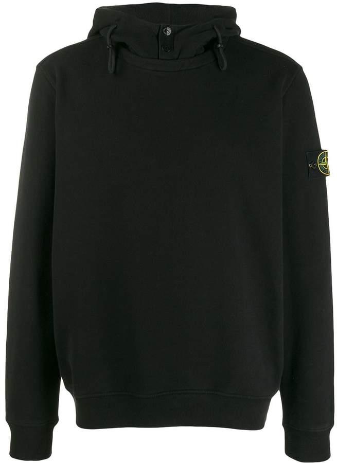 Stone Island logo drawstring hoodie