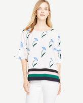 Ann Taylor Border Floral Flounce Sleeve Top