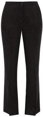 Etro Devon Floral Jacquard Flared Trousers - Womens - Black