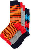 Neiman Marcus Three-Pair Sock Set, Navy/Red/Orange