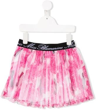 Miss Blumarine Pleated Mesh Skirt