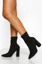 boohoo Wide Fit Block Heel Sock Boots