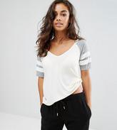 Boohoo Petite V Neck Varsity T-Shirt
