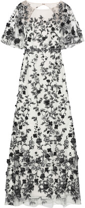 Marchesa Floral-appliqued Embroidered Tulle Gown