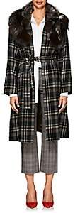 Pas De Calais Women's Fur-Collar Plaid Wool Coat - Brown