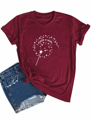Dresswel Women I Made A Wish Star Print T-Shirt Crew Neck Short Sleeve Tops Ladies Summer Tee Shirts Wine Red