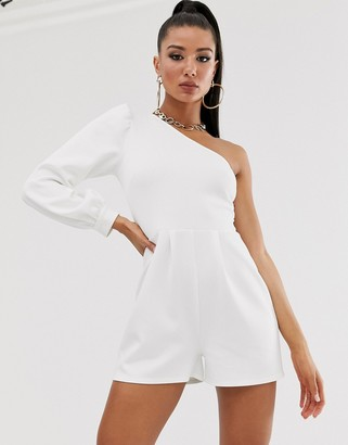 Asos Design DESIGN one shoulder blouson sleeve playsuit-Navy