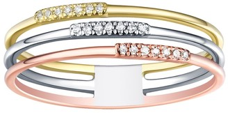Prism Jewel 0.05 Ctw Round White Diamond Tri-Color Gold Promise Ring,